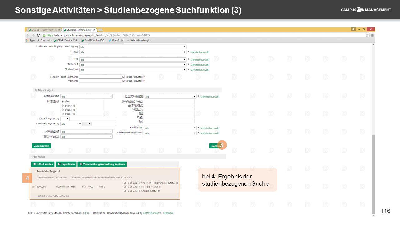 116 Sonstige Aktivitäten > Studienbezogene Suchfunktion (3) 3 4 bei 4: Ergebnis der studienbezogenen Suche