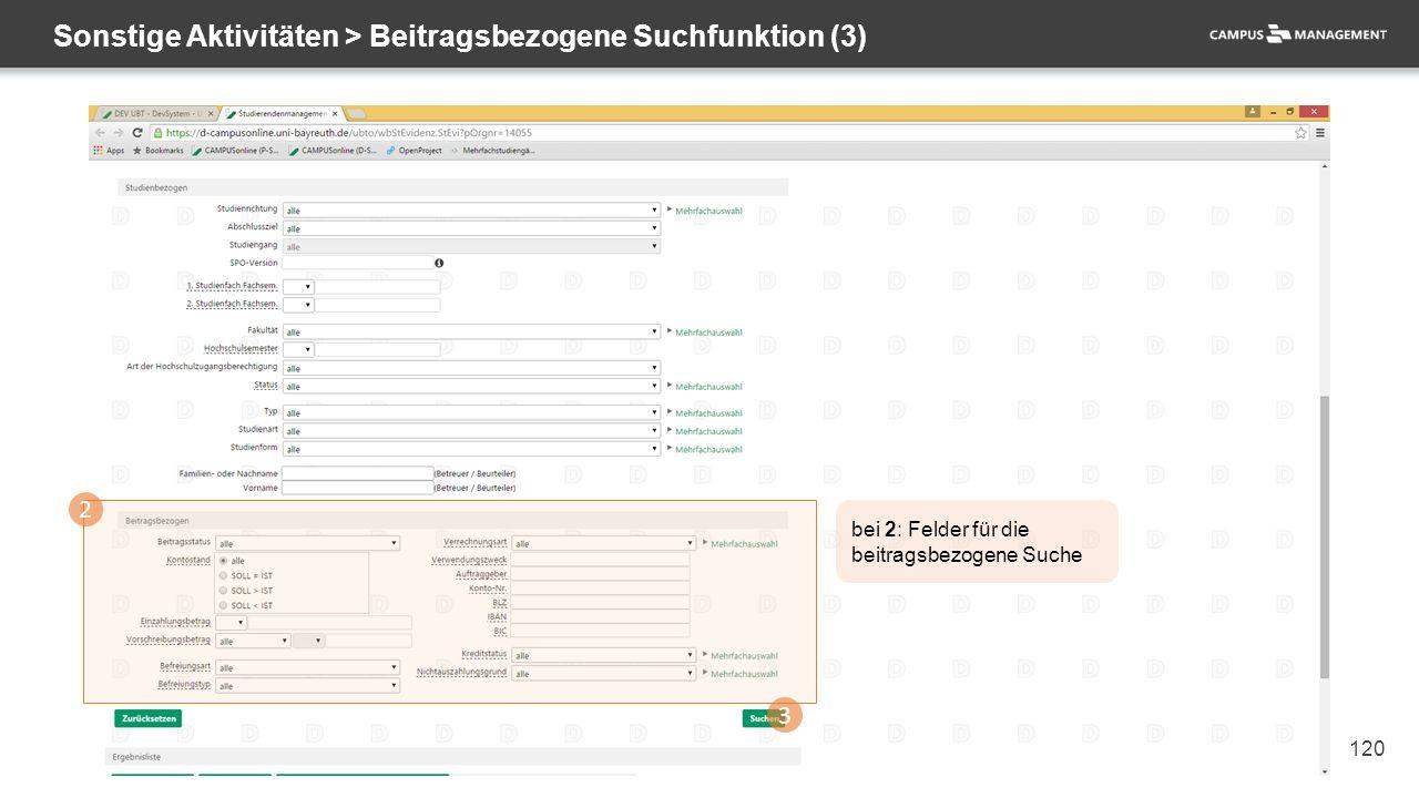 120 Sonstige Aktivitäten > Beitragsbezogene Suchfunktion (3) 2 3 bei 2: Felder für die beitragsbezogene Suche