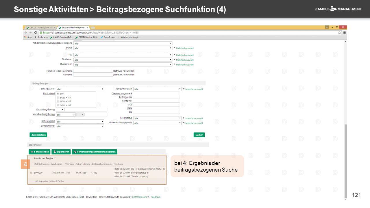 121 Sonstige Aktivitäten > Beitragsbezogene Suchfunktion (4) 4 bei 4: Ergebnis der beitragsbezogenen Suche
