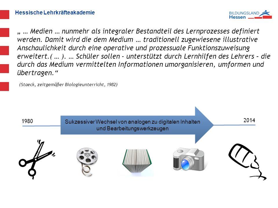 """Hessische Lehrkräfteakademie """" … Medien … nunmehr als integraler Bestandteil des Lernprozesses definiert werden."""