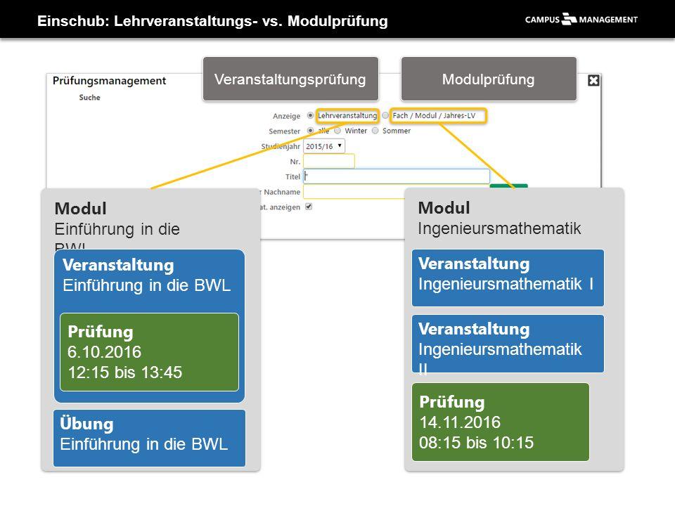 Einschub: Lehrveranstaltungs- vs. Modulprüfung Modul Einführung in die BWL Modul Ingenieursmathematik Veranstaltung Ingenieursmathematik I Veranstaltu