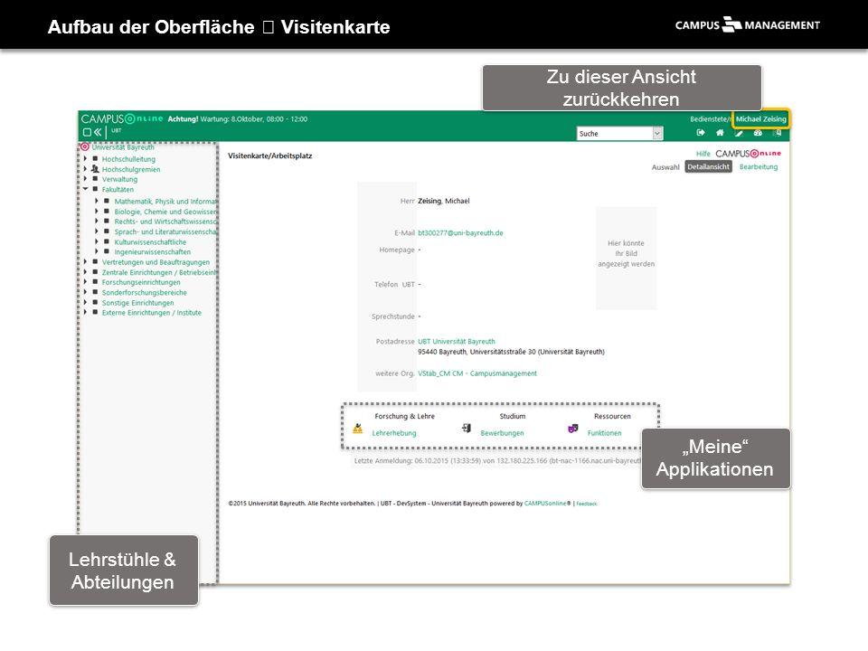 """Aufbau der Oberfläche Visitenkarte Lehrstühle & Abteilungen """"Meine"""" Applikationen Zu dieser Ansicht zurückkehren"""