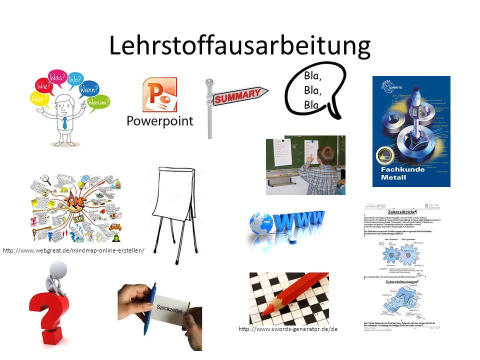 Lehrstoffausarbeitung http://www.webgreat.de/mindmap-online-erstellen/ http://www.xwords-generator.de/de