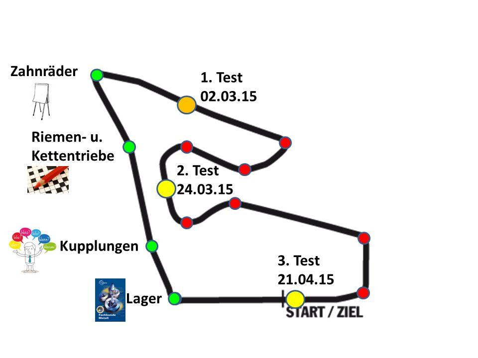 Lager Kupplungen Riemen- u. Kettentriebe Zahnräder 1. Test 02.03.15 3. Test 21.04.15 2. Test 24.03.15