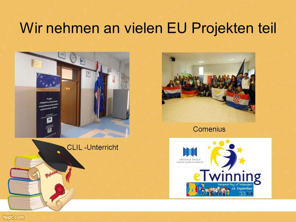 Wir nehmen an vielen EU Projekten teil CLIL -Unterricht Comenius