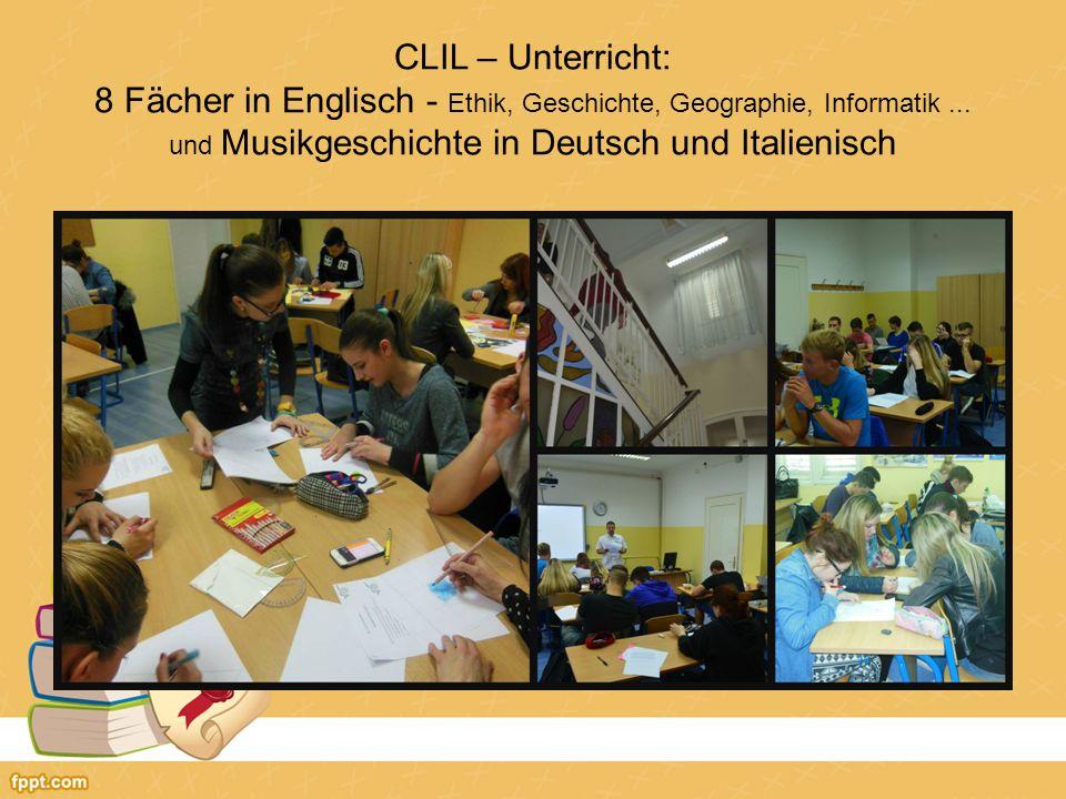 CLIL – Unterricht: 8 Fächer in Englisch - Ethik, Geschichte, Geographie, Informatik...