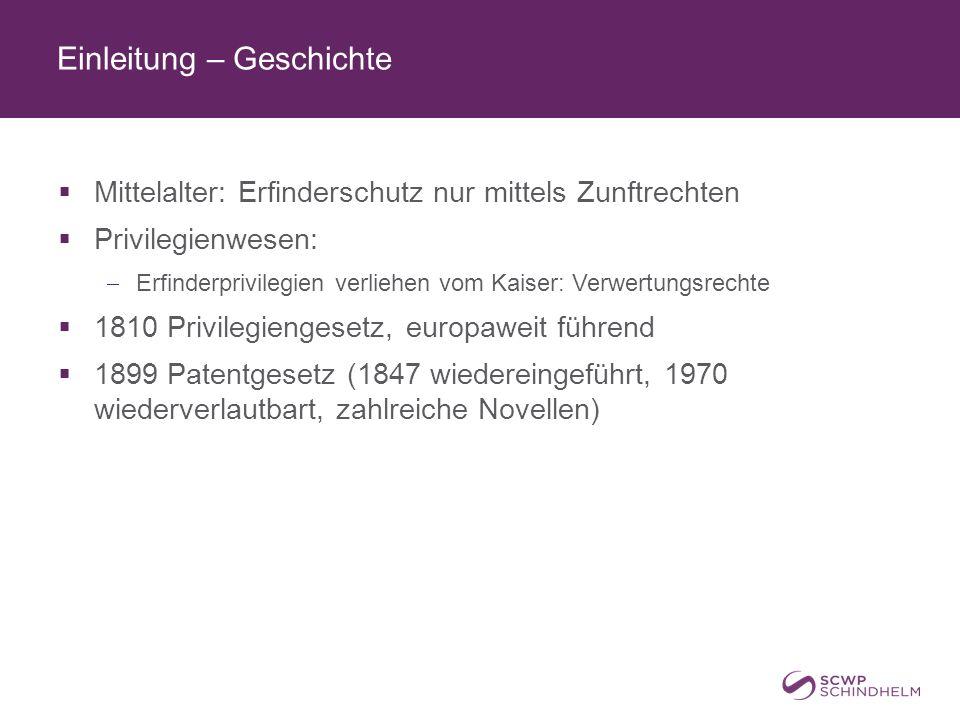 Einleitung – Rechtsquellen  PatG, PatV-EG, PAnwG, PPG, SchZG  PAG – PAGV, PAV, TRFV  Gemeinschaftspatent-Verordnungen  Europäisches Patent mit einheitlicher Wirkung, keine gesonderte Validierung in den MS  EU-Produktpiraterie-VO, Durchführungs-VO, SchZ-VO für Arzneimittel  RL über Topografien von Halbleitererzeugnissen (HlSchRL), Biotechnologie-RL, Rechtsdurchsetzungs-RL, Gemeinschaftskodex für Humanarzneimittel  PVÜ, TRIPS, EPÜ  PCT, IPC, PLT, Budapester Vertrag
