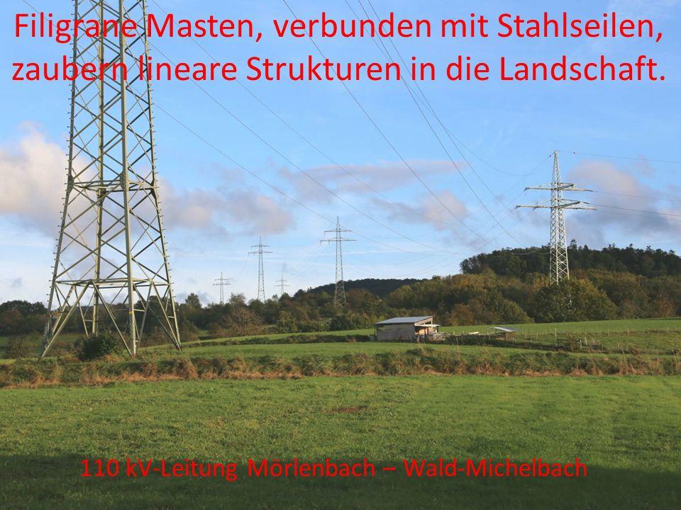 110 kV-Leitung Biblis – Mörlenbach Filigrane Masten, verbunden mit Stahlseilen, zaubern lineare Strukturen in die Landschaft. 110 kV-Leitung Mörlenbac