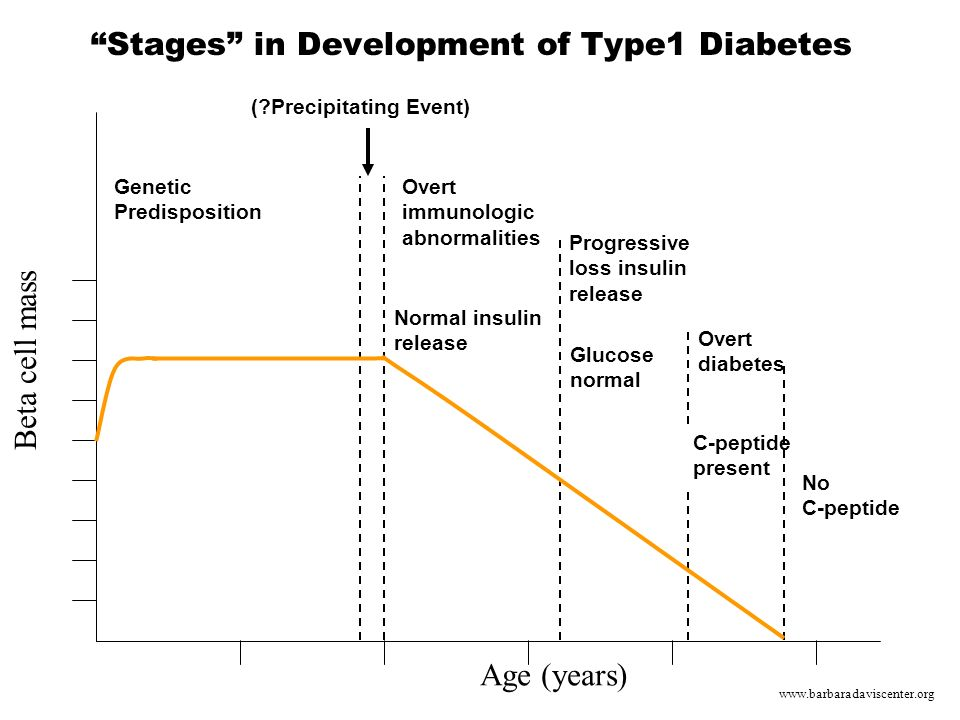 Stages in Development of Type1 Diabetes Age (years)‏ Genetic Predisposition Beta cell mass (?Precipitating Event) Overt immunologic abnormalities Normal insulin release Progressive loss insulin release Glucose normal Overt diabetes C-peptide present No C-peptide www.barbaradaviscenter.org