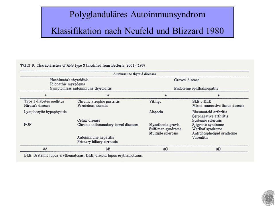 Polyglanduläres Autoimmunsyndrom Klassifikation nach Neufeld und Blizzard 1980