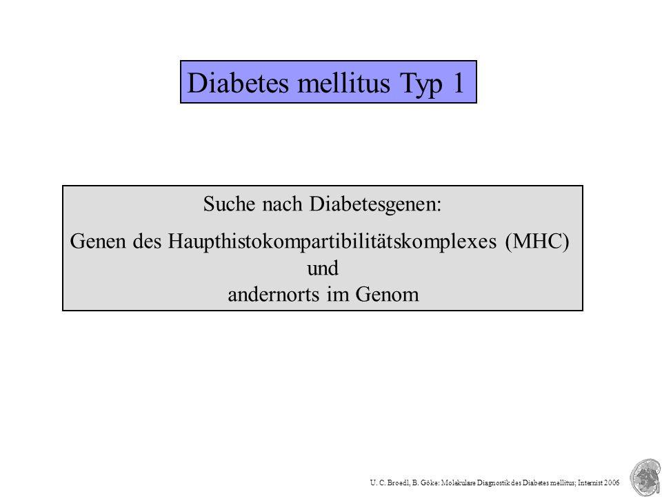 Diabetes mellitus Typ 1 HLA-Region des p-Arm des Chromosoms 6: kodiert MHC-Klasse-II-Komplex, der Antigene auf der Oberfläche präsentiert setzt sich aus Alpha- und Beta-Kette zusammen Genorte auf Chromosom 11 in Nähe von Insulingen weitere Chromosomen mit über 16 Genorte A.