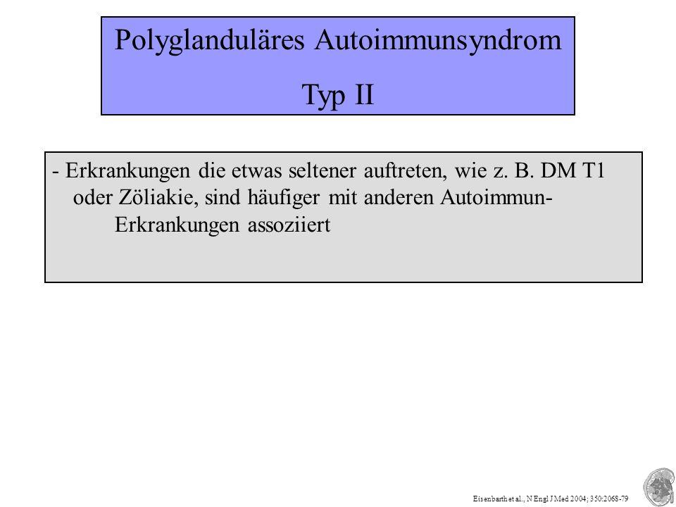 Polyglanduläres Autoimmunsyndrom Typ II - Erkrankungen die etwas seltener auftreten, wie z.