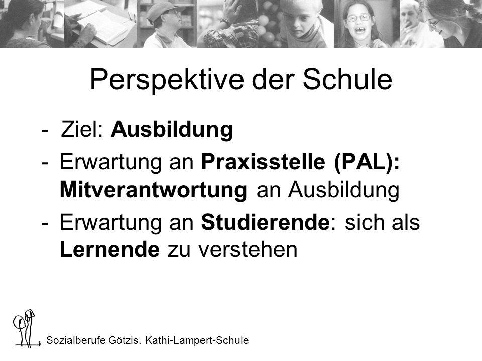 Sozialberufe Götzis. Kathi-Lampert-Schule Perspektive der Schule - Ziel: Ausbildung -Erwartung an Praxisstelle (PAL): Mitverantwortung an Ausbildung -