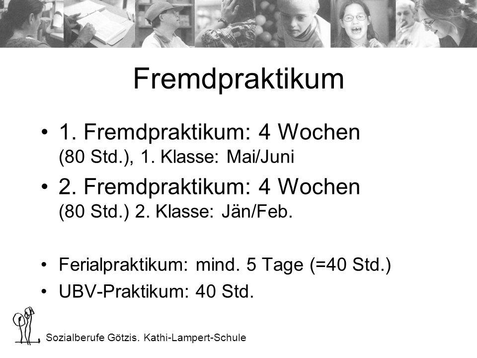 Sozialberufe Götzis. Kathi-Lampert-Schule Fremdpraktikum 1. Fremdpraktikum: 4 Wochen (80 Std.), 1. Klasse: Mai/Juni 2. Fremdpraktikum: 4 Wochen (80 St
