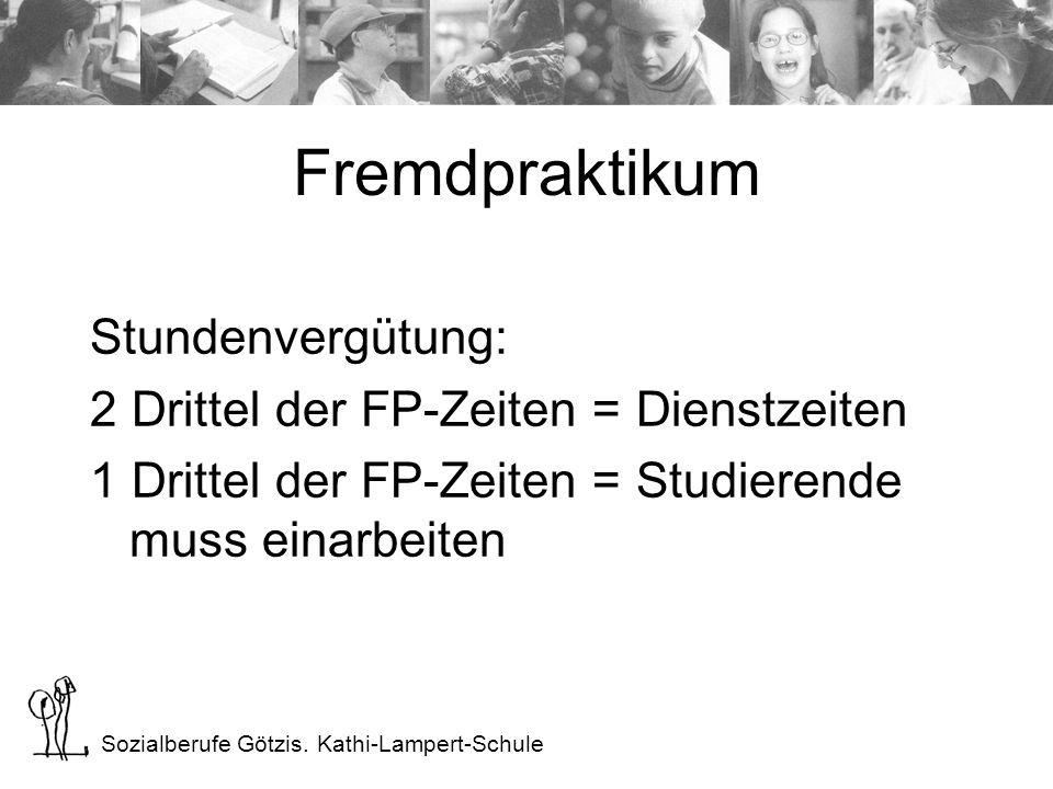 Sozialberufe Götzis. Kathi-Lampert-Schule Fremdpraktikum Stundenvergütung: 2 Drittel der FP-Zeiten = Dienstzeiten 1 Drittel der FP-Zeiten = Studierend