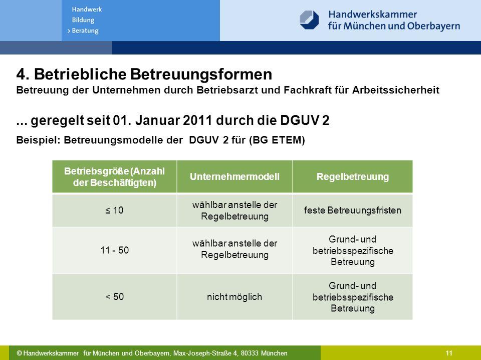© Handwerkskammer für München und Oberbayern, Max-Joseph-Straße 4, 80333 München 11 4. Betriebliche Betreuungsformen Betreuung der Unternehmen durch B