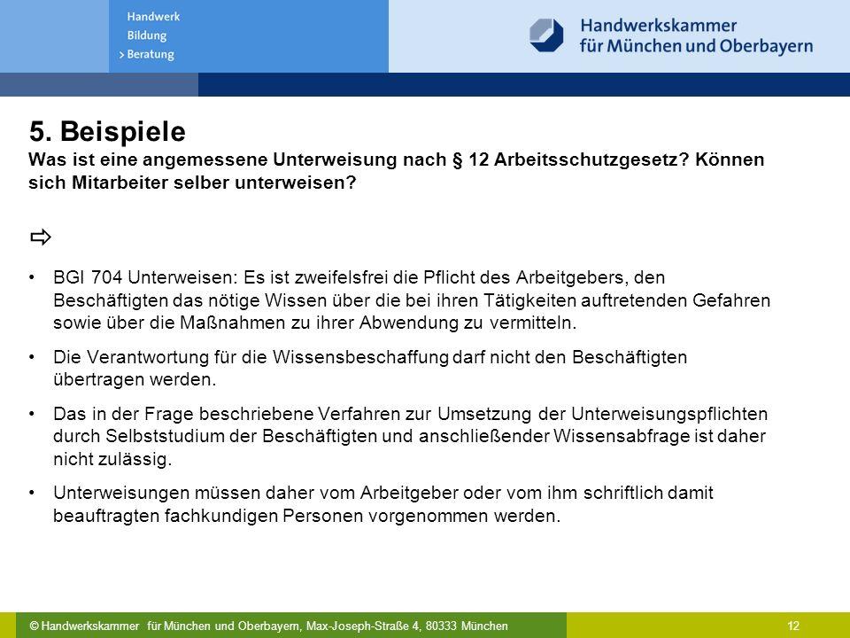 © Handwerkskammer für München und Oberbayern, Max-Joseph-Straße 4, 80333 München 12 5. Beispiele Was ist eine angemessene Unterweisung nach § 12 Arbei
