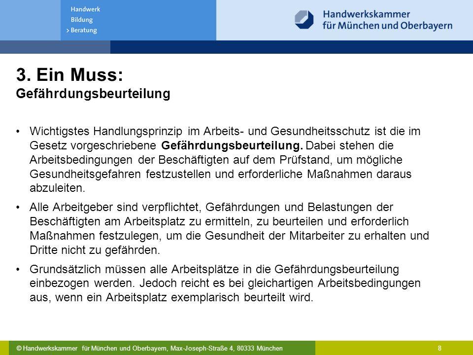 © Handwerkskammer für München und Oberbayern, Max-Joseph-Straße 4, 80333 München 8 3. Ein Muss: Gefährdungsbeurteilung Wichtigstes Handlungsprinzip im