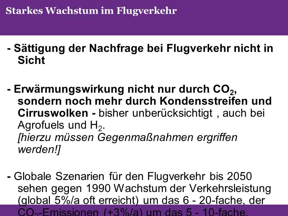 Starkes Wachstum im Flugverkehr - Sättigung der Nachfrage bei Flugverkehr nicht in Sicht - Erwärmungswirkung nicht nur durch CO 2, sondern noch mehr durch Kondensstreifen und Cirruswolken - bisher unberücksichtigt, auch bei Agrofuels und H 2.