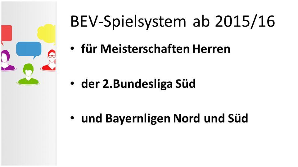 für Meisterschaften Herren der 2.Bundesliga Süd und Bayernligen Nord und Süd BEV-Spielsystem ab 2015/16