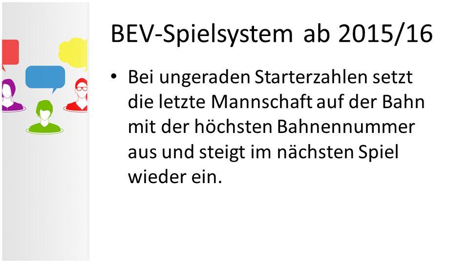 BEV-Spielsystem ab 2015/16 Bei ungeraden Starterzahlen setzt die letzte Mannschaft auf der Bahn mit der höchsten Bahnennummer aus und steigt im nächst