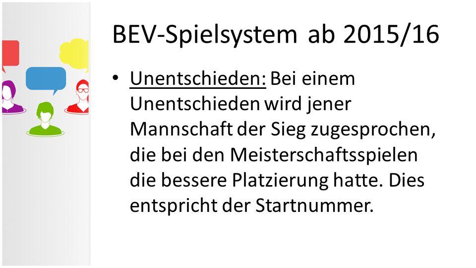 BEV-Spielsystem ab 2015/16 Unentschieden: Bei einem Unentschieden wird jener Mannschaft der Sieg zugesprochen, die bei den Meisterschaftsspielen die b