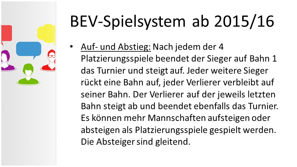 BEV-Spielsystem ab 2015/16 Auf- und Abstieg: Nach jedem der 4 Platzierungsspiele beendet der Sieger auf Bahn 1 das Turnier und steigt auf. Jeder weite