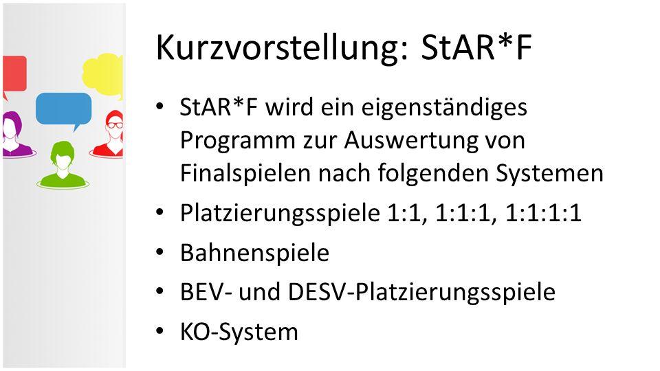 Kurzvorstellung: StAR*F StAR*F wird ein eigenständiges Programm zur Auswertung von Finalspielen nach folgenden Systemen Platzierungsspiele 1:1, 1:1:1,