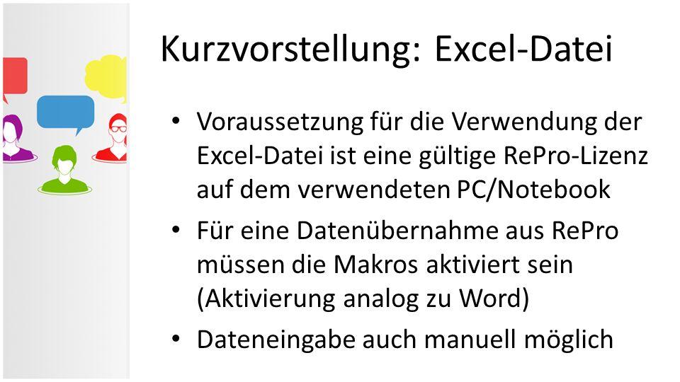 Kurzvorstellung: Excel-Datei Voraussetzung für die Verwendung der Excel-Datei ist eine gültige RePro-Lizenz auf dem verwendeten PC/Notebook Für eine D