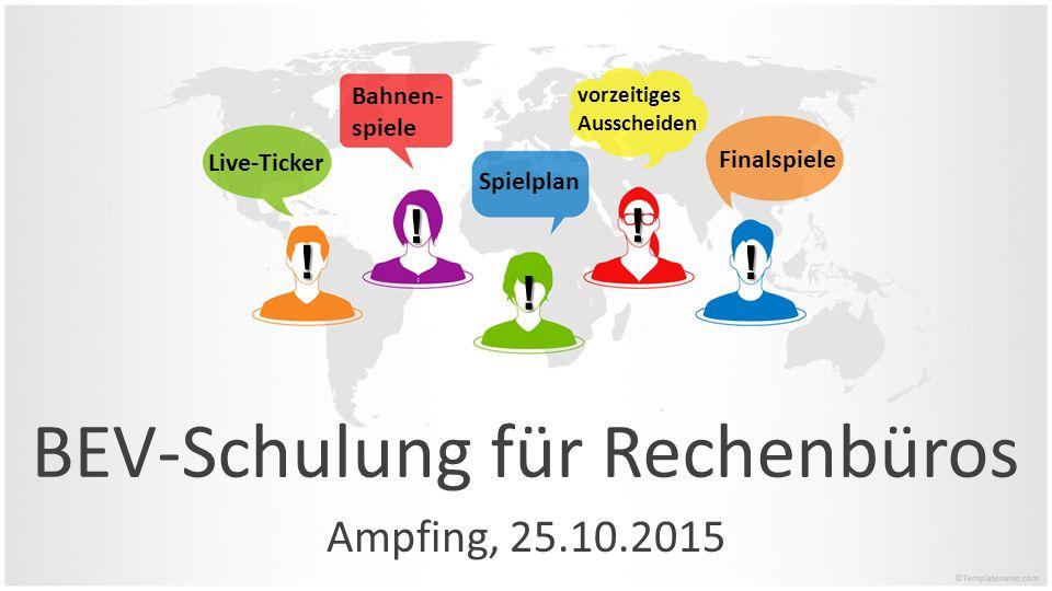 BEV-Schulung für Rechenbüros Ampfing, 25.10.2015 Bahnen- spiele Finalspiele vorzeitiges Ausscheiden Spielplan Live-Ticker ! ! ! ! !