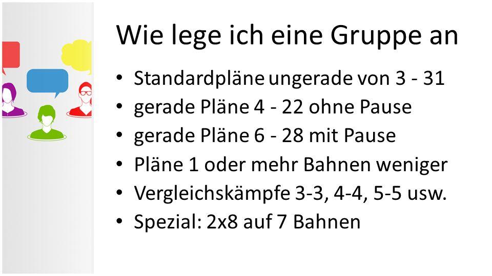 Standardpläne ungerade von 3 - 31 gerade Pläne 4 - 22 ohne Pause gerade Pläne 6 - 28 mit Pause Pläne 1 oder mehr Bahnen weniger Vergleichskämpfe 3-3,