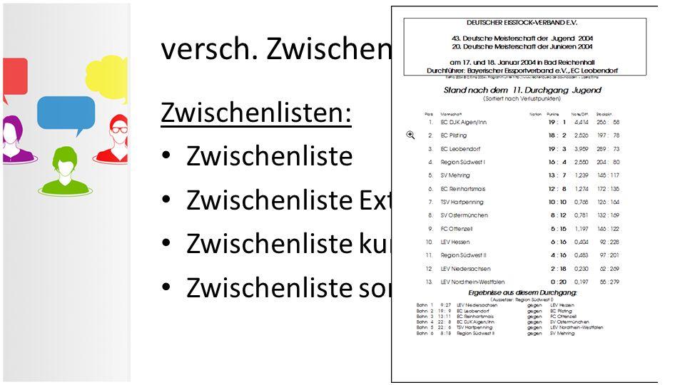 versch. Zwischen- & Ergebnislisten Zwischenlisten: Zwischenliste Zwischenliste Extra Zwischenliste kurz Zwischenliste sortiert n. Verlustpkt.
