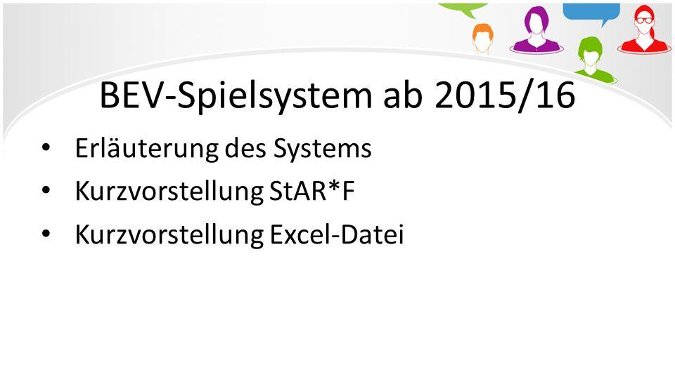 BEV-Spielsystem ab 2015/16 Erläuterung des Systems Kurzvorstellung StAR*F Kurzvorstellung Excel-Datei