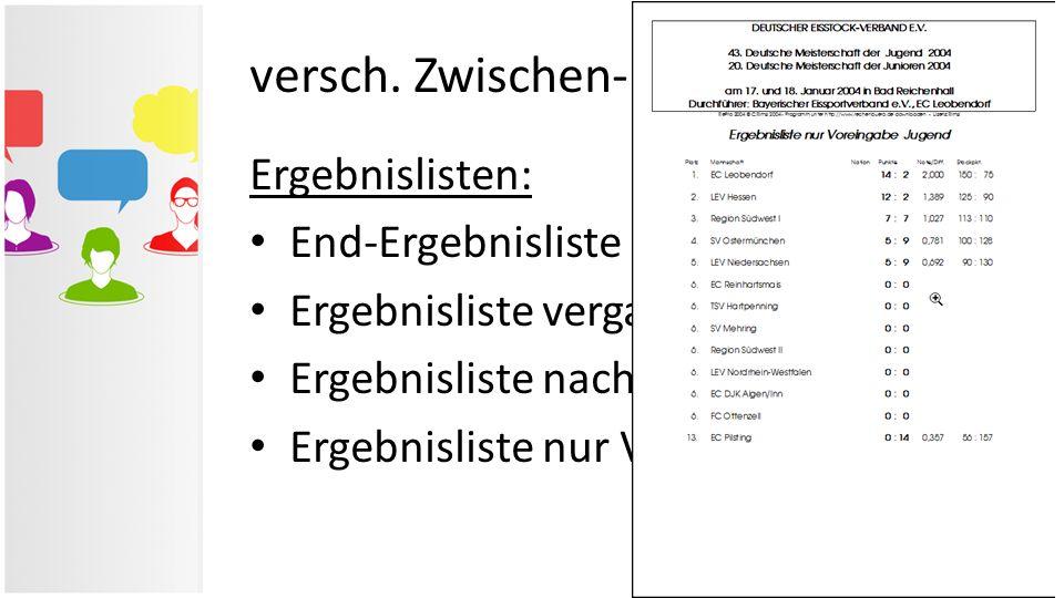 versch. Zwischen- & Ergebnislisten Ergebnislisten: End-Ergebnisliste Ergebnisliste vergangener Durchgang Ergebnisliste nach Startnummern Ergebnisliste