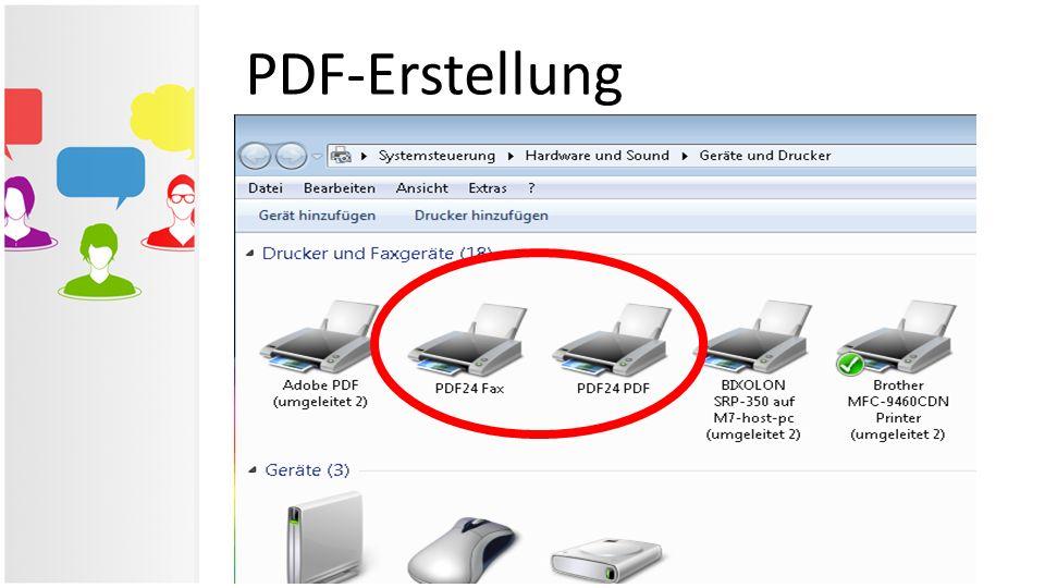 PDF-Erstellung Beide Programme legen in Windows einen Drucker an, der mit jedem Programm als ganz normaler Drucker verwendet werden kann. Nur erfolgt