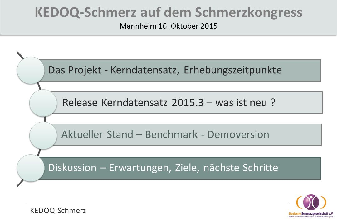 KEDOQ-Schmerz Das Projekt - Kerndatensatz, Erhebungszeitpunkte Release Kerndatensatz 2015.3 – was ist neu ? Aktueller Stand – Benchmark - Demoversion