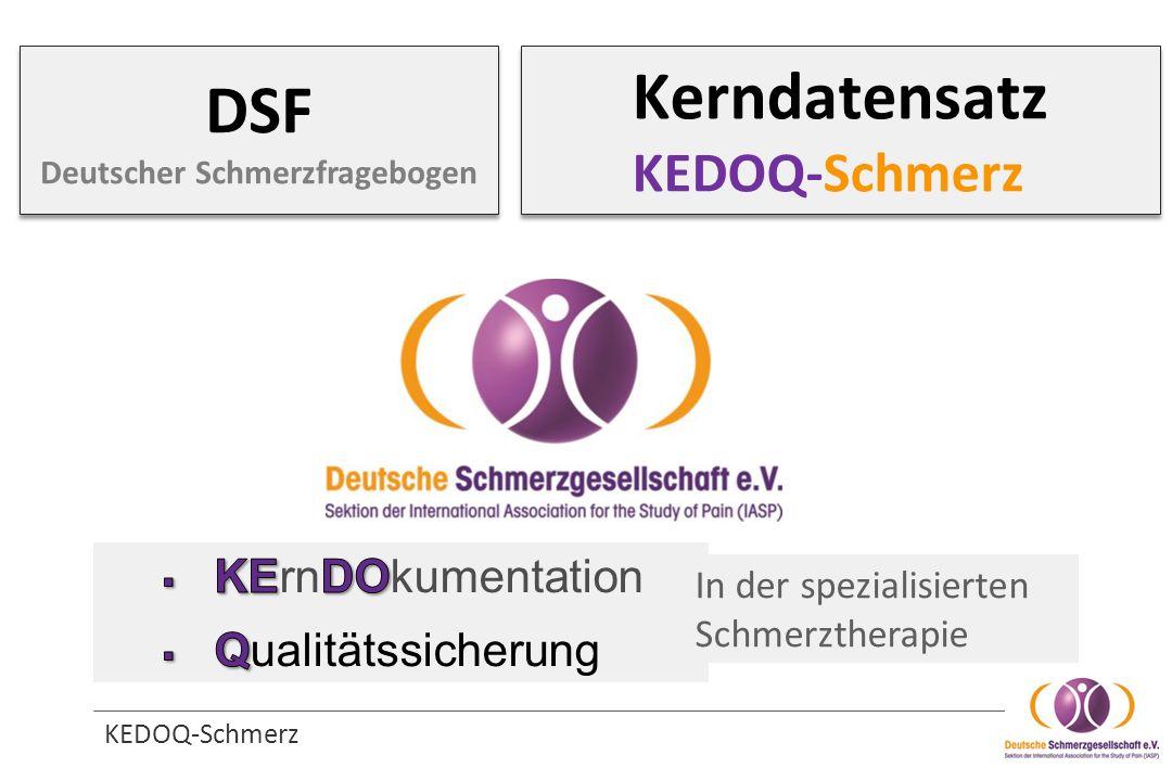 KEDOQ-Schmerz Kerndatensatz KEDOQ-Schmerz In der spezialisierten Schmerztherapie DSF Deutscher Schmerzfragebogen
