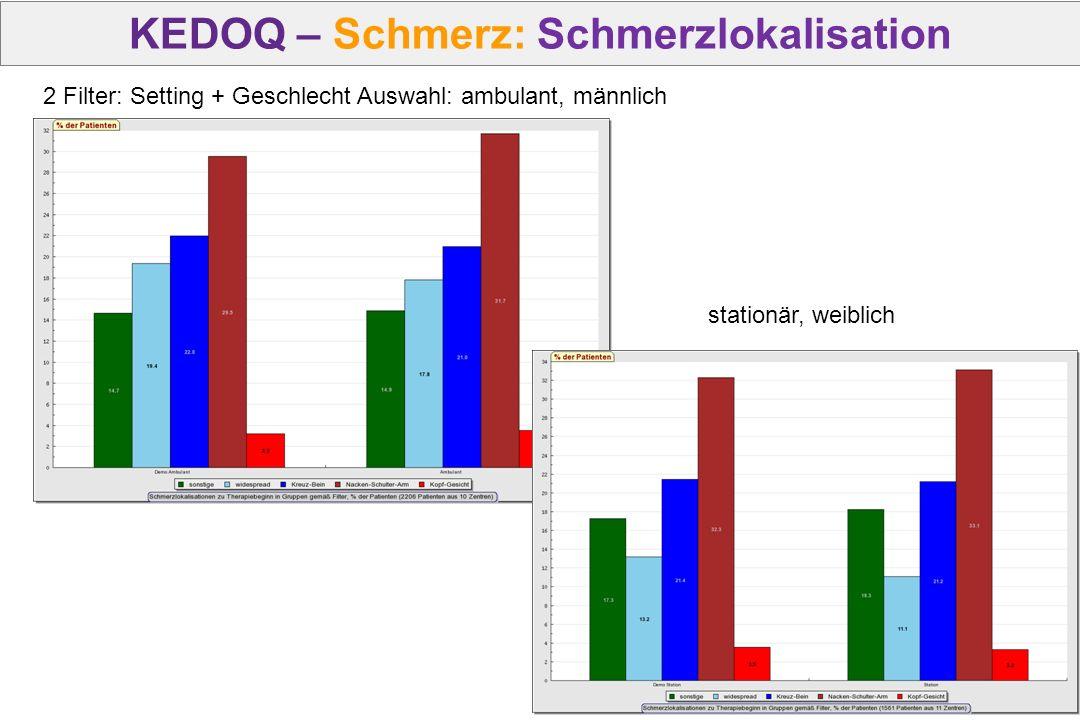 2 Filter: Setting + Geschlecht Auswahl: ambulant, männlich stationär, weiblich