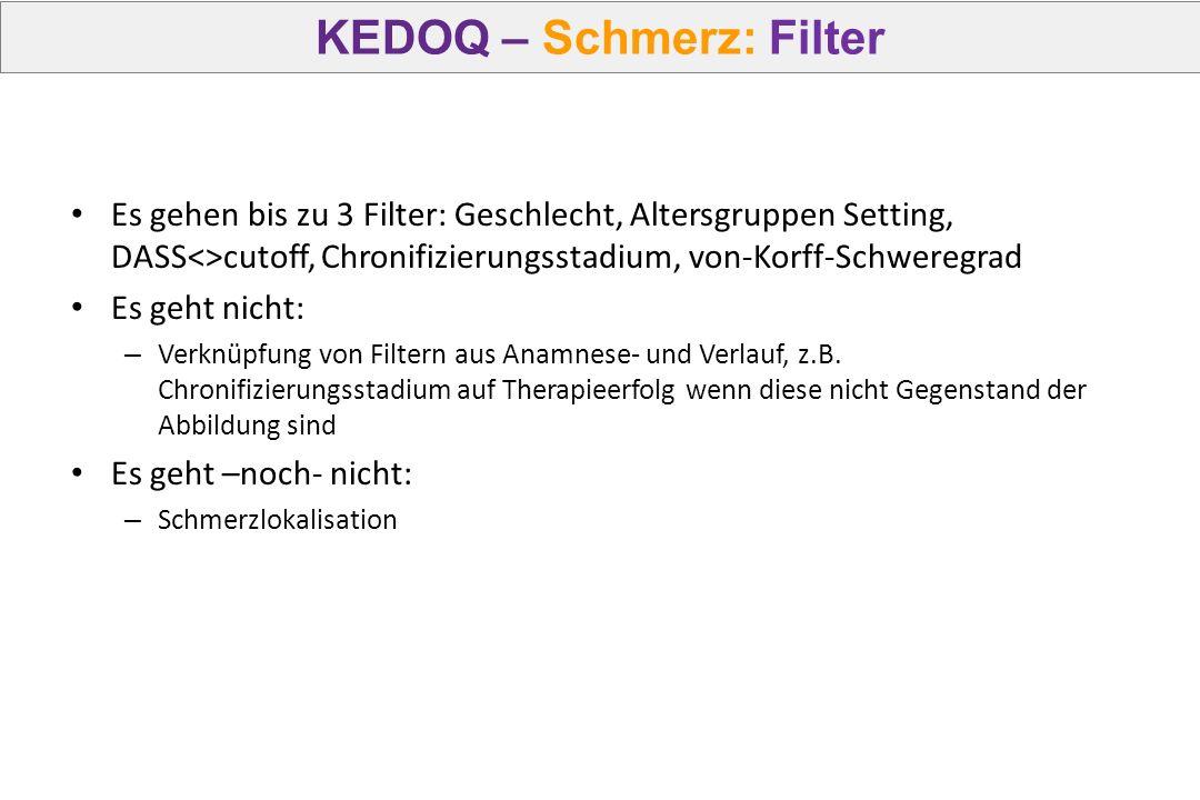 KEDOQ – Schmerz: Filter Es gehen bis zu 3 Filter: Geschlecht, Altersgruppen Setting, DASS<>cutoff, Chronifizierungsstadium, von-Korff-Schweregrad Es g