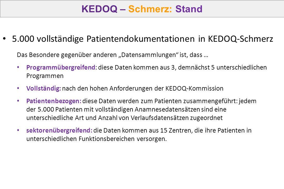 """KEDOQ – Schmerz: Stand Das Besondere gegenüber anderen """"Datensammlungen"""" ist, dass … Programmübergreifend: diese Daten kommen aus 3, demnächst 5 unter"""