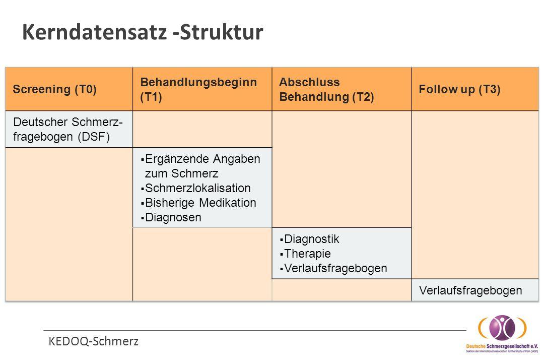 Erhebungszeitpunkte T0 Screening DSF T1 Behandlungs- Beginn ambulante Therapie T3 (a - xx) Verlauf ambulante Therapie (alle 3-6 Mo.) T2 Abschluss ambulant Abbruch der Behandlung Relevanter Symptom- wechsel T3 (a-xx) Follow Up ambulante Therapie Parameter B1Datum Behandlungsbeginn X B2Deutscher Schmerzfragebogen (DSF) X B2.1Aktualisierung DSF (wenn DSF älter als 4 Wochen) X B3Setting der Behandlung X B4Ergänzende Informationen zum Schmerz X B5Ergänzende Informationen Medikamenteneinnahme X C1Datum Verlauf/Abschluss XXX C2Verlaufsfragebogen (VFB) XXX C2.1VFB am Ende einer (teil-)stationären Behandlung C3Status der Behandlung XXX C4Diagnostische Maßnahmen (durchgeführt, veranlasst) XXX C5Medikamentöse Therapie (durchgeführt, veranlasst) XXX C6Nichtmedikamentöse Therapie (durchgeführt, veranlasst) XXX C7Unerwünschte Ereignisse XXX Ambulante Behandlung