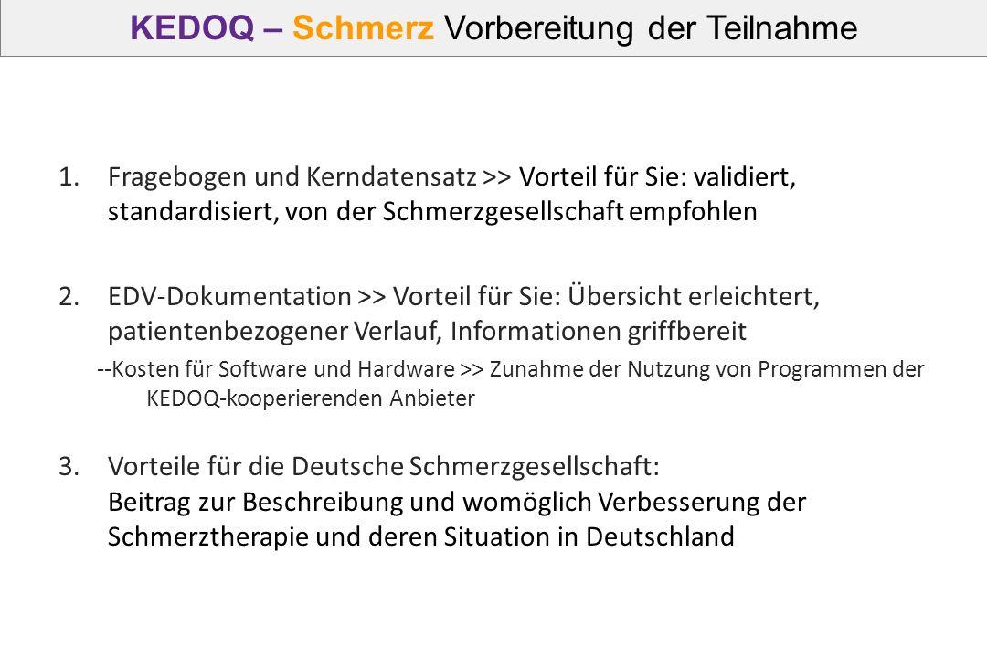 KEDOQ – Schmerz Vorbereitung der Teilnahme 1.Fragebogen und Kerndatensatz >> Vorteil für Sie: validiert, standardisiert, von der Schmerzgesellschaft e