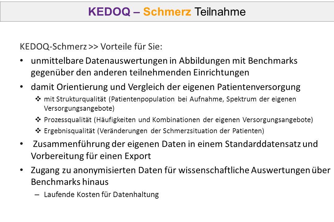 KEDOQ – Schmerz Teilnahme KEDOQ-Schmerz >> Vorteile für Sie: unmittelbare Datenauswertungen in Abbildungen mit Benchmarks gegenüber den anderen teilne