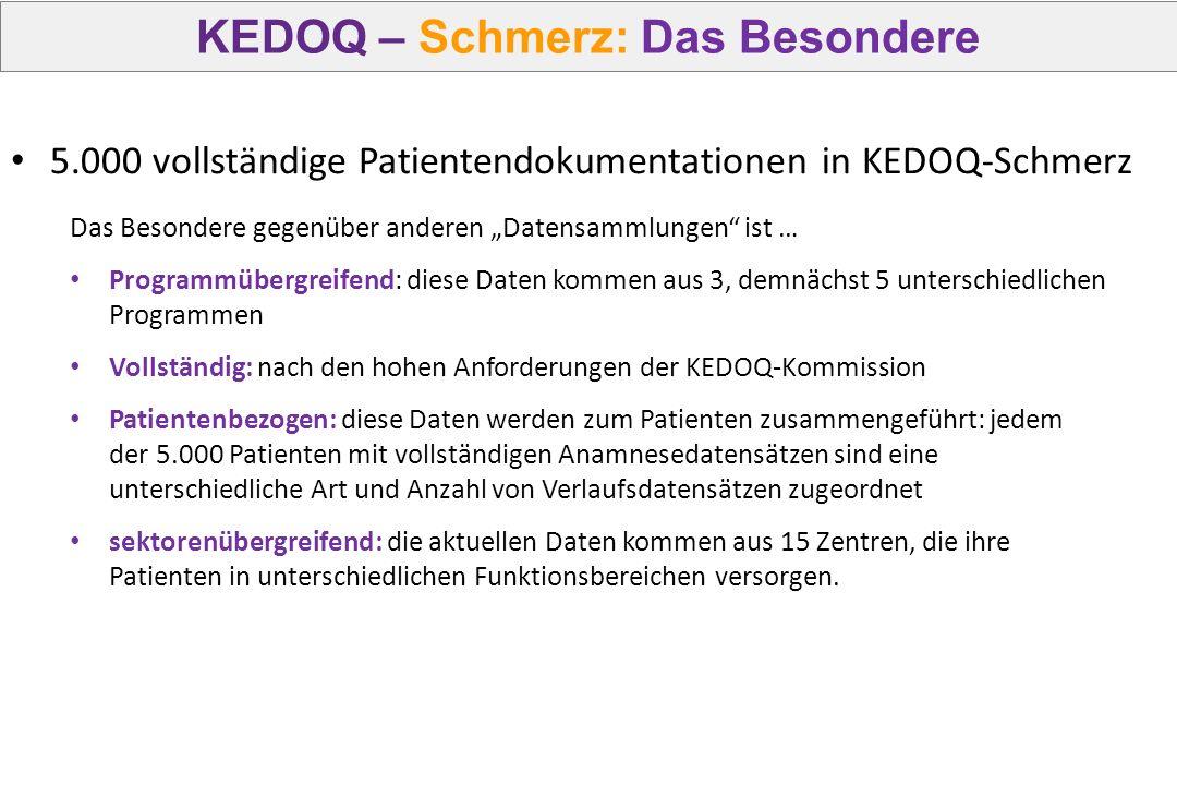 """KEDOQ – Schmerz: Das Besondere Das Besondere gegenüber anderen """"Datensammlungen"""" ist … Programmübergreifend: diese Daten kommen aus 3, demnächst 5 unt"""