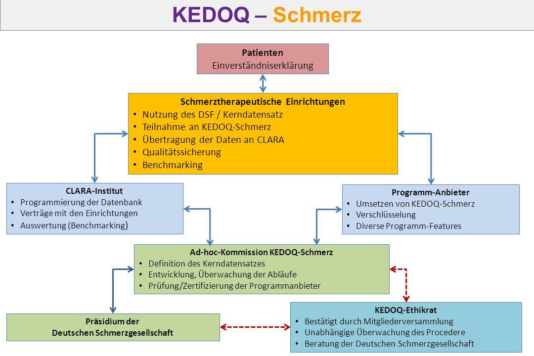 Schmerztherapeutische Einrichtungen Nutzung des DSF / Kerndatensatz Teilnahme an KEDOQ-Schmerz Übertragung der Daten an CLARA Qualitätssicherung Bench