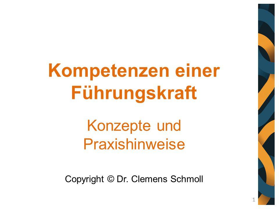 Kompetenzen einer Führungskraft Konzepte und Praxishinweise Copyright © Dr. Clemens Schmoll 1