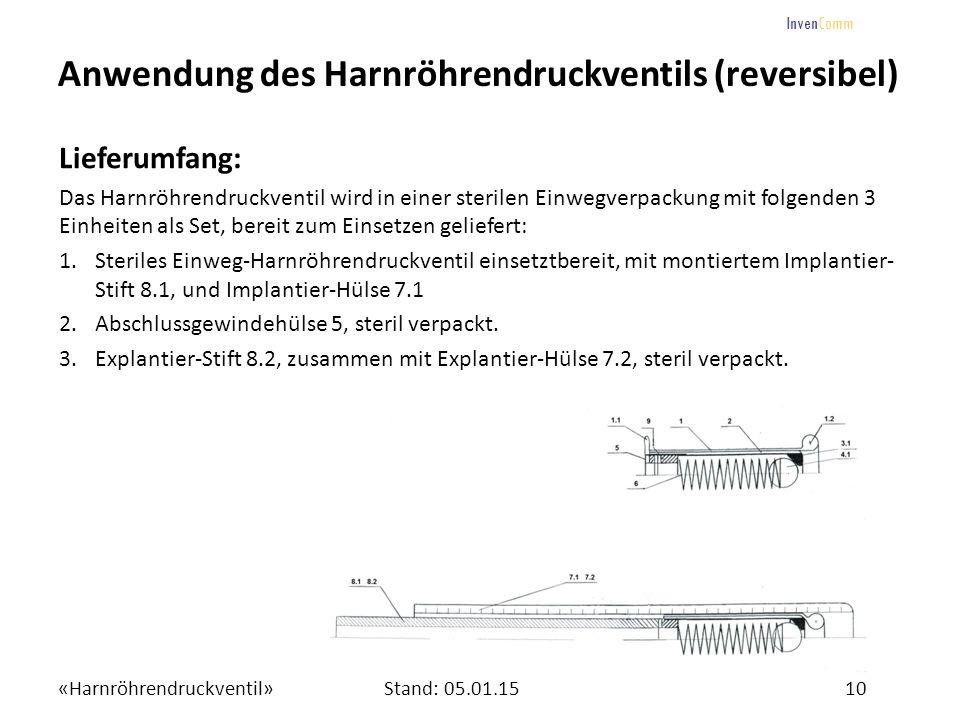 «Harnröhrendruckventil»10Stand: 05.01.15 InvenComm Anwendung des Harnröhrendruckventils (reversibel) Lieferumfang: Das Harnröhrendruckventil wird in e