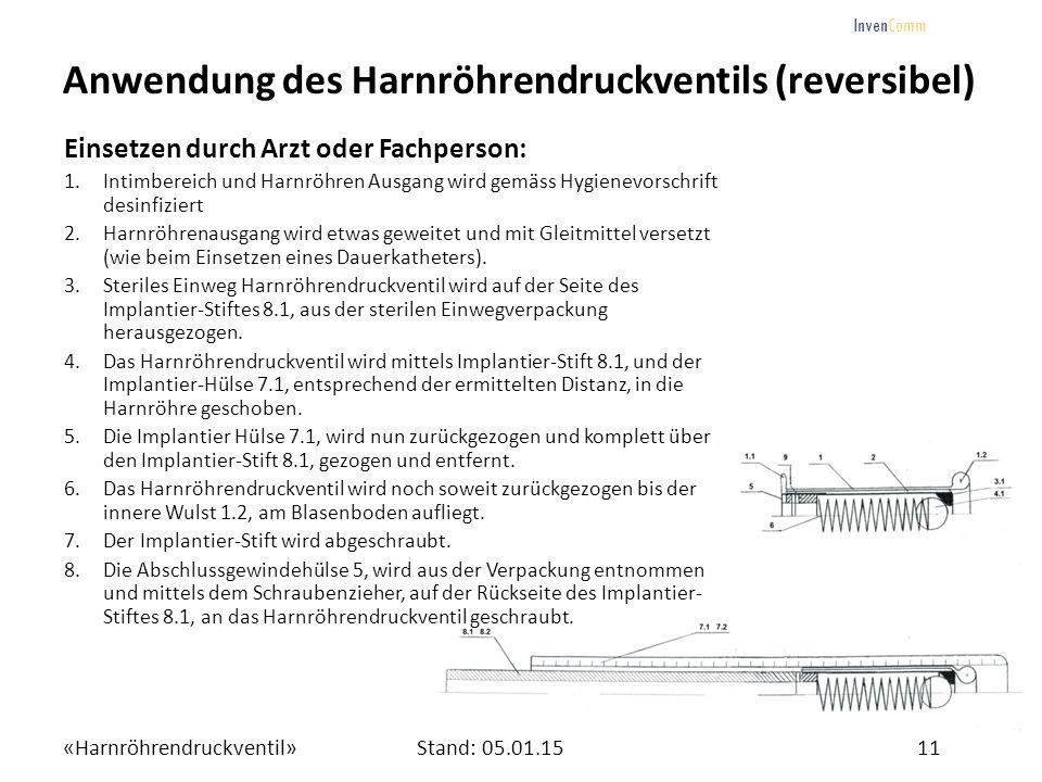 «Harnröhrendruckventil»11Stand: 05.01.15 InvenComm Anwendung des Harnröhrendruckventils (reversibel) Einsetzen durch Arzt oder Fachperson: 1.Intimbere