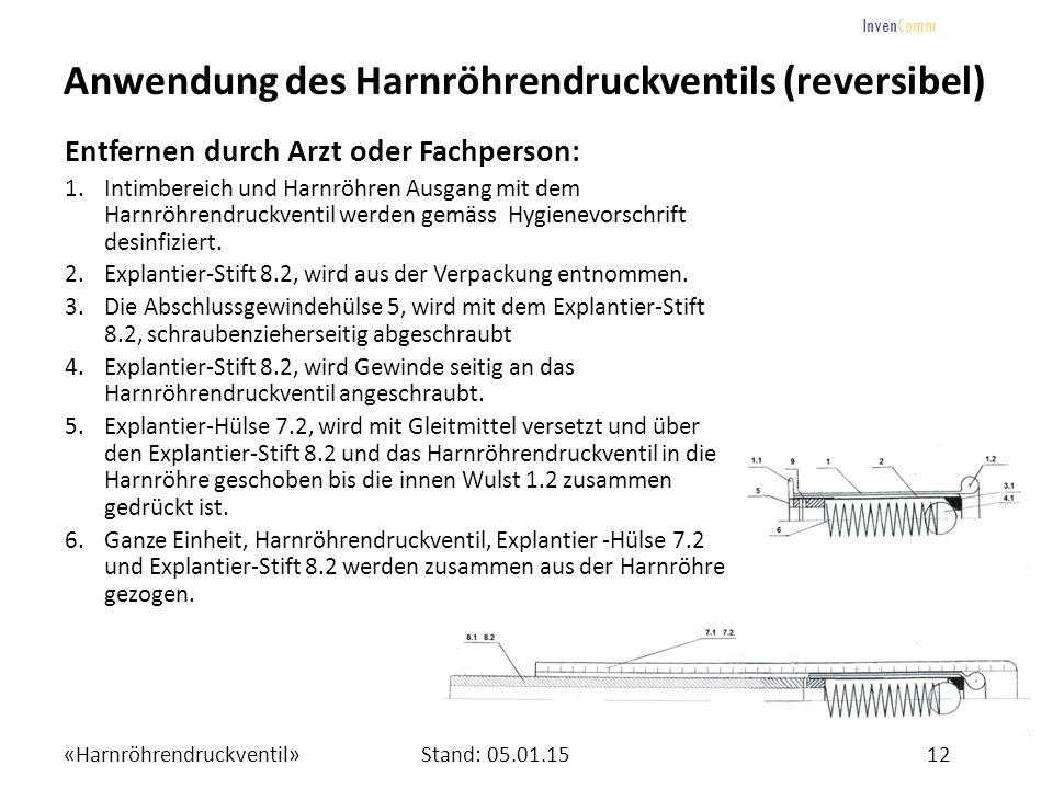 «Harnröhrendruckventil»12Stand: 05.01.15 InvenComm Anwendung des Harnröhrendruckventils (reversibel) Entfernen durch Arzt oder Fachperson: 1.Intimbere