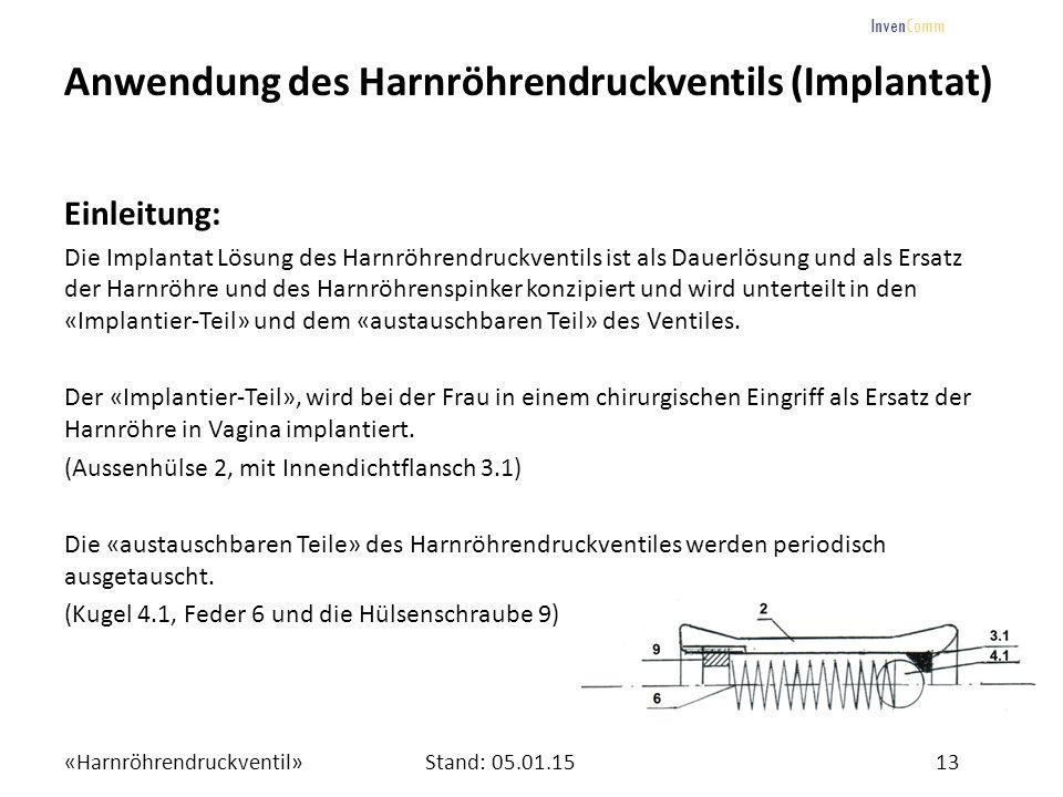 «Harnröhrendruckventil»13Stand: 05.01.15 InvenComm Anwendung des Harnröhrendruckventils (Implantat) Einleitung: Die Implantat Lösung des Harnröhrendru